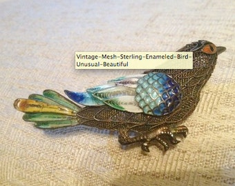 Vintage Mesh Sterling Enameled Bird - Unusual & Beautiful
