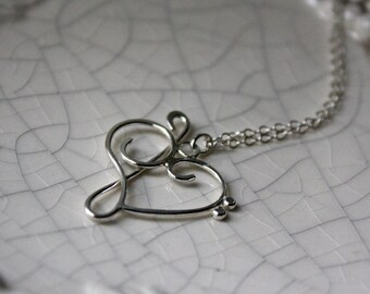 Treble Clef Bass Clef Heart Pendant - Music Heart Necklace - Silver Music Heart - Silver Jewelry - Music Note Heart - Silver Heart Pendant