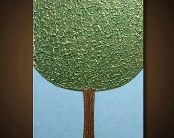 The Forgiving Tree - Green Tree Painting  Sky Blue Gold Brown Bronze 24x18 High Quality Original Textural Sculpural Modern Fine Art