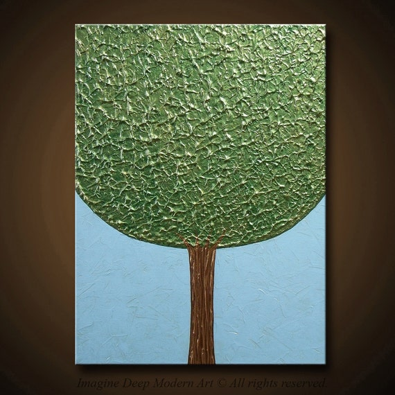 Painting The Forgiving Tree Green Tree Sky Blue Gold Bronze 24x18 High Quality Original Sculpure Impasto Modern Fine Art