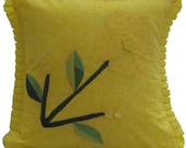 Yellow Tone-On-Tone Floral Pillow