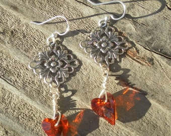 Red Heart Earrings Silver Dangle Valentine Earrings Love