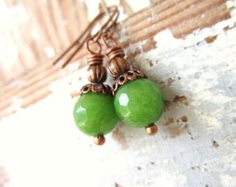 Green Dangle Earrings. Green Faceted Jade & Copper Drop Earrings. Copper Earrings. Green Jade Jewelry. Green Jewelry. Olive Green Earrings