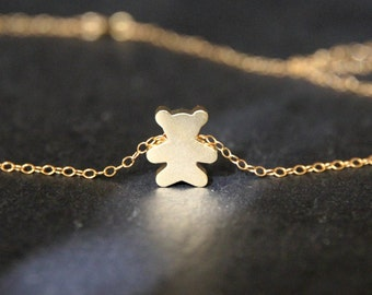 Gold Teddy Bear Necklace 18k Gold or 18k Rose Gold Dipped Mini Teddy Bear Necklace.