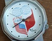 Vintage wristwatch Russian Luch USSR USA flags free shipping to USA