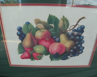 Pair of Fruit Prints/VINTAGE/WOOD FRAMES/Pears/Apples/Grapes/Pumpkin