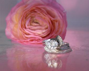 White Sapphire Sterling Ring, White Sapphire Ring Set, White Sapphire Wedding Set, White Sapphire, Sterling Silver, Diamond Alternative