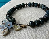 Dusky Blue Glass Bead and Brass Bracelet with Lucite Flowers, One of a Kind