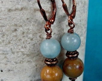 Amazonite and Rainbow Amazonite Copper Earrings