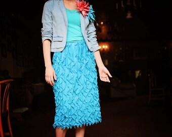 Waterfall Ruffle Midi Skirt - Basic Colors - Misses - Made To Order - Couture - Elegant - Modest Clotting - Apostolic Clothing - Modesty