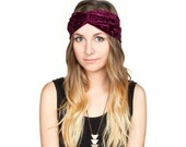 Burgundy Crushed Velvet Turban Headband Stretch Turband