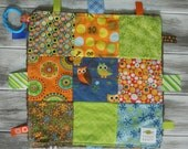 """Baby Ribbon Blanket Tag Lovey """"RIBbee"""" Boutique Patchwork Sensory Taggie Toy - Soft Minky Fleece Backing - earthy owl"""