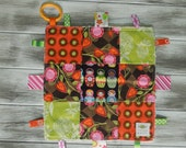"""Baby Ribbon Blanket Tag Lovey """"RIBbee"""" Boutique Patchwork Sensory Taggie Toy - Soft Minky Fleece Backing - happy and bright"""