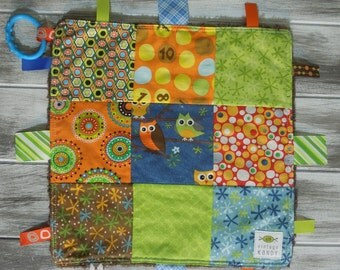 "Baby Ribbon Blanket Tag Lovey ""RIBbee"" Boutique Patchwork Sensory Taggie Toy - Soft Minky Fleece Backing - earthy owl"