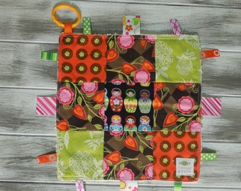 "Baby Ribbon Blanket Tag Lovey ""RIBbee"" Boutique Patchwork Sensory  Toy - Soft Minky Fleece Backing - happy and bright"