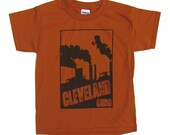 SALE: Youth Tee - Cleveland Smokestacks in Orange and Brown