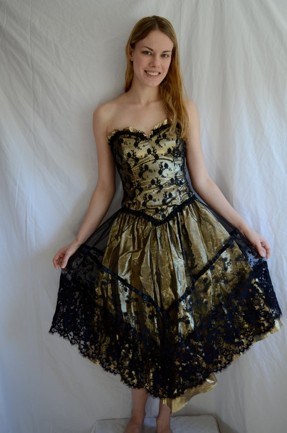 Vintage 80s Party Dress/ Gold and Black