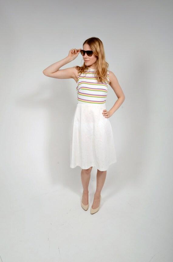 Vintage 70s Striped Dress/ Rainbow/ Medium