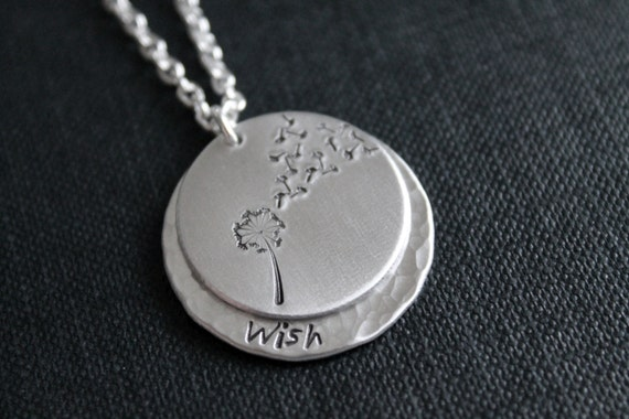 Metal Stamped Dandelion and Fluff Wish Necklace