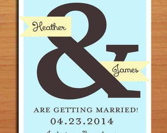 Blue and Yellow Ampersand Wedding Save the Date PRINTABLE / DIY