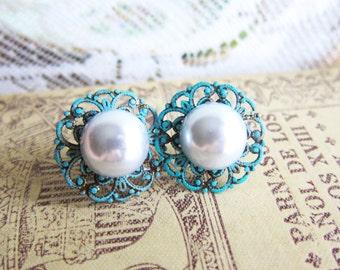 Turquoise Wedding Jewelry White Pearl Earrings Ivory Cream Teal Aqua Blue Mint SeaFoam Bridesmaids Gift Bridal Bride Studs Something Old
