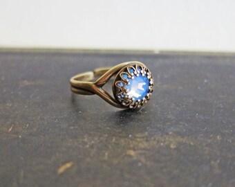 Opal Ring Blue Ring Great Gatsby Ring Air Opal Swarovski Crystal Ring Rhinestone Tiny Ring Dainty Ring Exotic Fantasy Folk Woodland Elf Ring