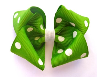 green and whilte polka dot hair bow--3.5 inch boutique hair accessorie for baby toddler big girls