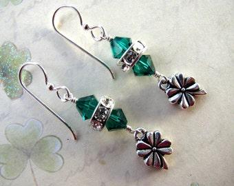 Four Leaf Clover Earrings, Swarovski Crystals, Green Earrings, St. Patrick's Day Earrings, Irish Earring, Celtic Earrings, Holiday Earring