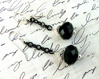 Black Chain Earrings, Swarovski Earrings, Black Earrings, Downton Abbey,  Dangle Earrings, Chain Earrings, Edwardian Earrings, Jet Earrings