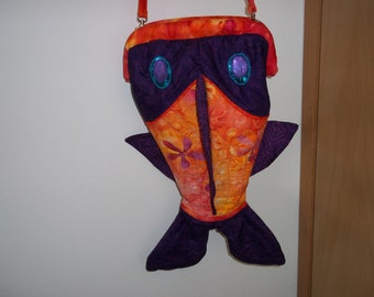 Big Mouth Fish Bag in Orange and Purple Batiks