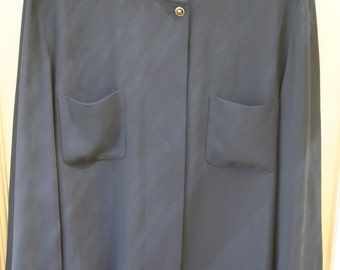 1980's Blue Navy Collarless Loose Fit Thin Jacket