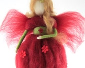 Waldorf Fairy Needle Felted Red Fairy Ornament Fairytale Decoration Soft Sculpture Merino Wool Art Doll