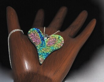 Heart Necklace Dichroic Fused Glass Heart Pendant