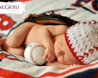 Baby Baseball Beanie- Photography Prop, baseball hat, baseball photo prop, baby baseball player, newborn baseball prop