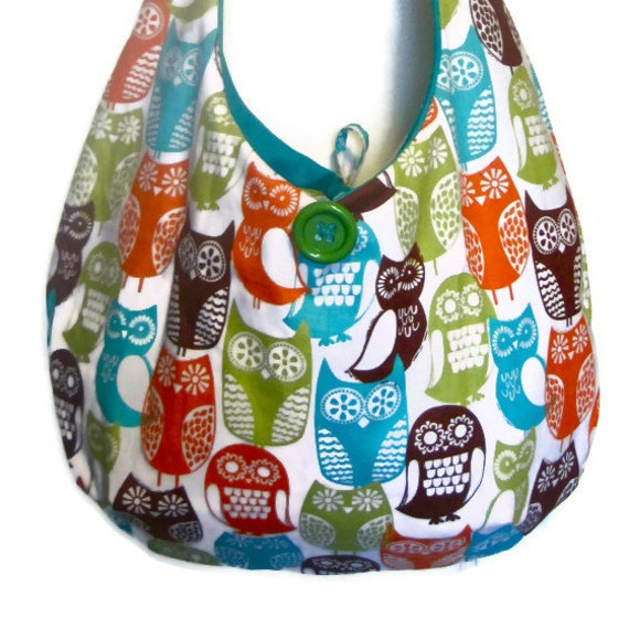 "Sling purse owl hobo bag slouch shoulder spring retro bird market tote  ""Sophie""  MADE TO ORDER"
