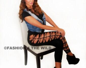 Plus Size Womens Rocker Cut Leggings