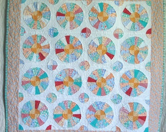Charming Quilt Slice of Charm Pie Shapes in Reprodcution Feedsack 1930s Fabric Cheerful Colors 43 x 43 inches