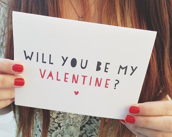 """Valentines Day Card """" Will you be my Valentine """" Greeting card. I love you card. Valentines card"""