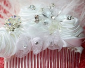 Wedding Veil Birdcage Veil White Satin Roses Crystals Rhinestones Hair Wedding Accessories FREE SHIPPING