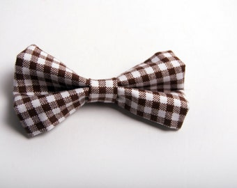 Brown Gingham Bow Tie -Baby Toddler Child Boys - Wedding - photo prop