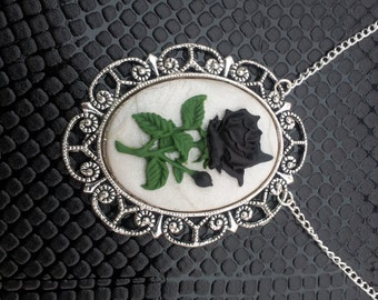 Handmade Black Rose Cameo Pendant on a Silver Plated Chain Gothic Steampunk Emo Punk