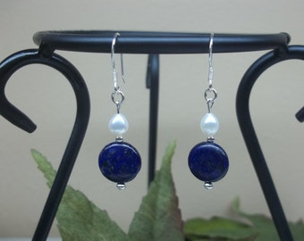 Sterling Silver Blue Lapis Pearl Earrings Lapis Silver Sterling Earrings Pearl Valentine Gift for Girlfriend For Valentine Buyany3+get1free