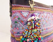 Small Key Chain Zip Pull Bag Accessories Decoration Handmade by HMONG Tribe Thailand  (ACC028S-PU)