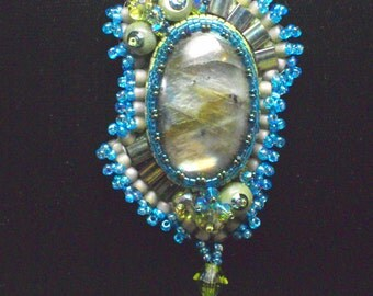 Bead Embroidery Labrodite Necklace