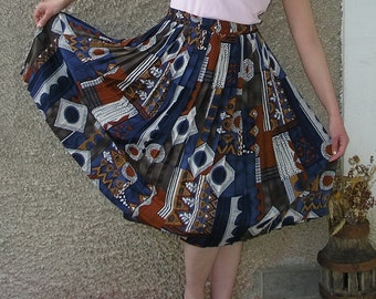 Vintage pleated elastic waist skirt, size L-XL