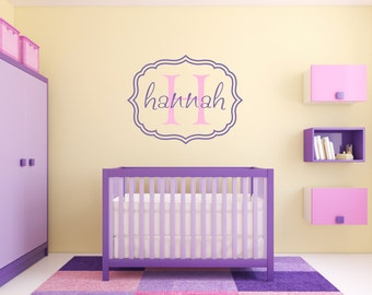 Name and Initial Vinyl Wall Decal Whimsical Border Personalized Monogram Wall Decal Girl Baby Nursery Room Wall Art 22Hx25W FS267