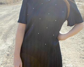 Midnight Starlight - Vintage 80s Glimmer Black Mini Prom Dress, Leslie Fay, Large