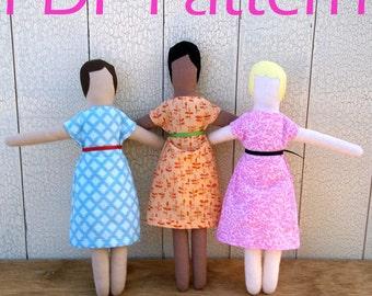 Easy rag doll PDF pattern // simple cloth doll pattern
