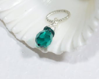 Wire Wrapped Emerald Briolette . Wire Wrapped Crystal. Swarovski Briolette, Wire Wrapped Pendant.