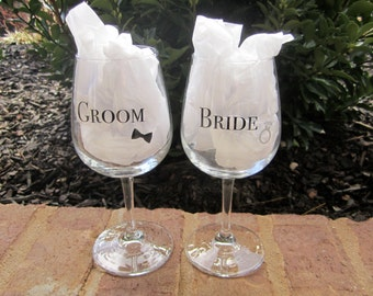 Whimsical Bride/Groom Wine Glasses.  Wedding Glasses. Personalized Wine Glasses. Bridal Shower Gift. Personalized. Custom Gift.
